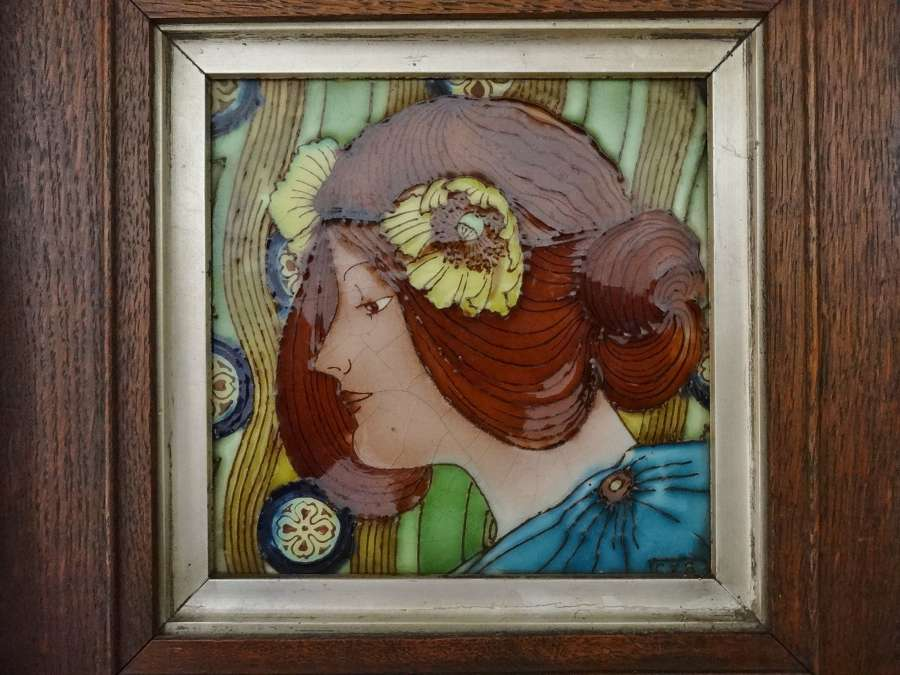 Art Nouveau framed portrait maiden tile