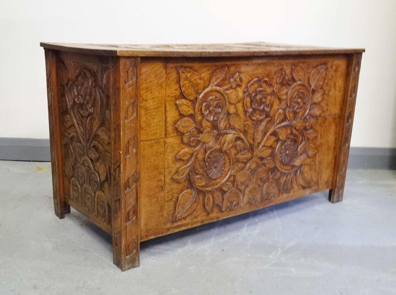 Carved oak Art & Crafts chest coffer