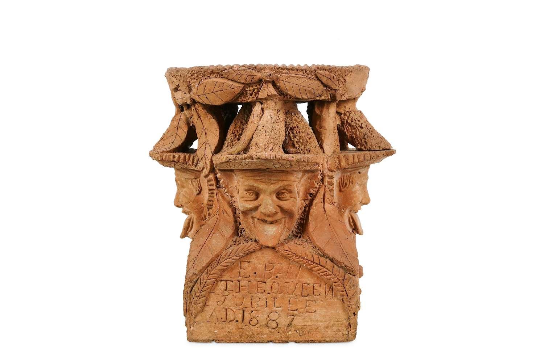 Unusual Scottish terracotta Arts & Crafts Green Man bird bath stand