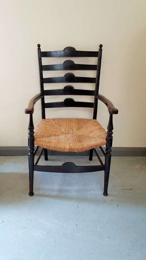 Arts & Crafts Morris & Co Sussex style ebonised armchair