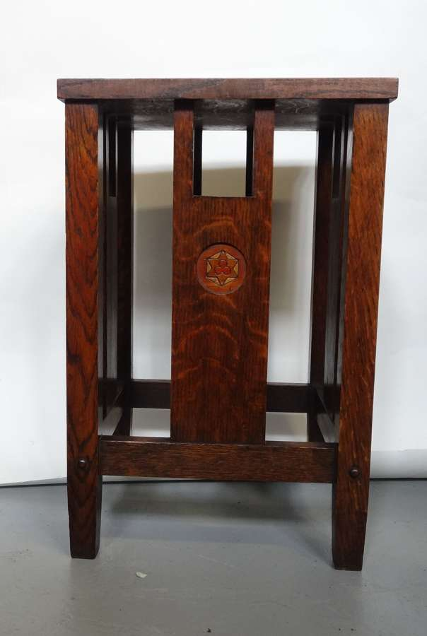 Arts & Crafts small inlaid oak occasional table