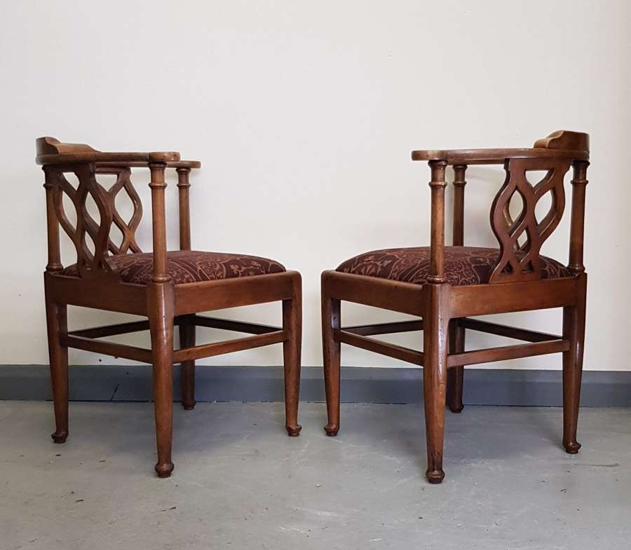 Pair of Cotswold School Arthur Romney Green corner chairs