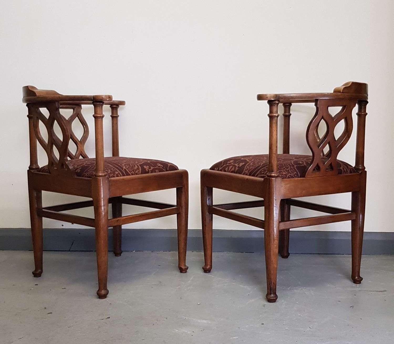 Pair of Cotswold School Arthur Romney Green corner chairs