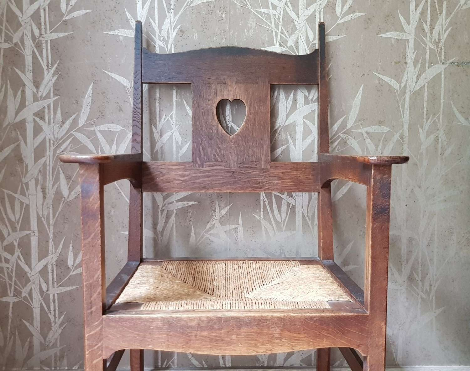 Rare original CFA Voysey oak Arts & Crafts armchair