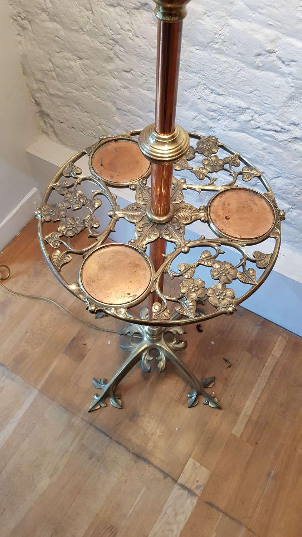Unusual WAS Benson copper and brass standard lamp