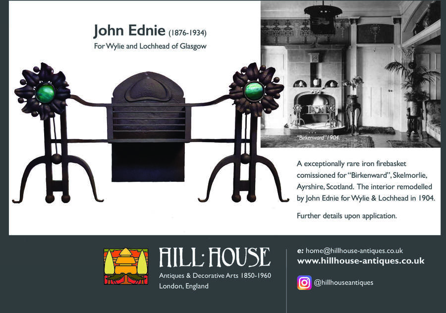 Rare Glasgow Style Arts & Crafts firegrate John Ednie Wylie & Lochhead