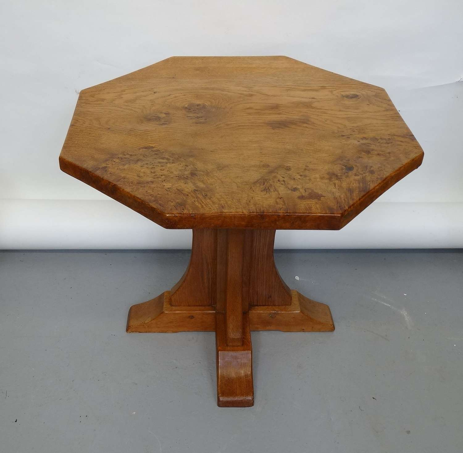Early period Robert Mouseman Thompson burr oak coffee table