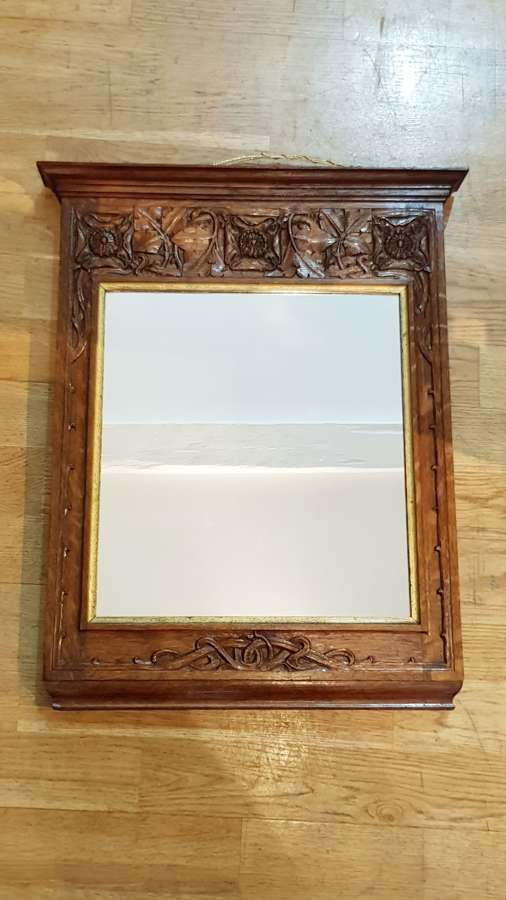 Arthur Simpson of Kendal Arts & Crafts small carved oak mirror