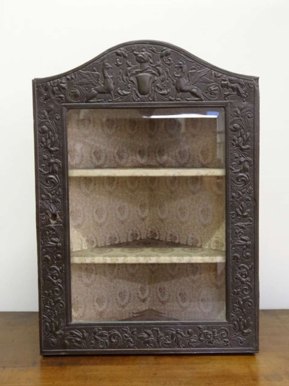 Unusual Arts & Crafts Keswick School small brass corner cabinet