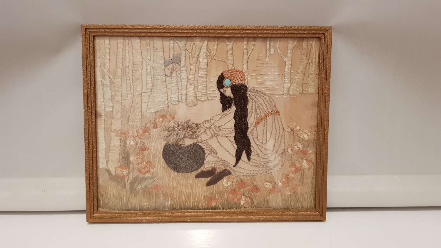 Glasgow Style Arts & Crafts embroidered panel manner of JM King