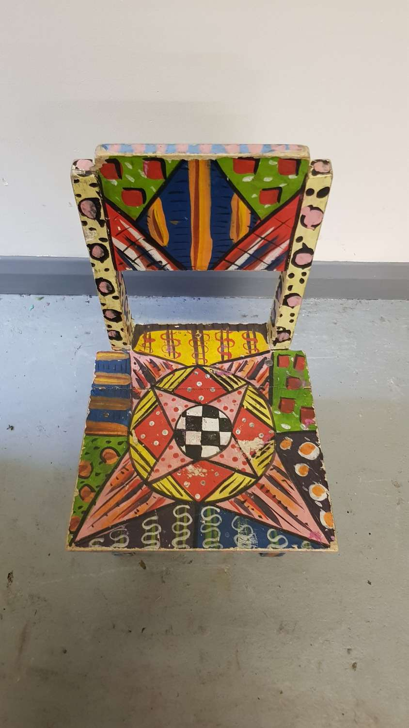 Unusual 1980s psychedelic painted child's chair Binnie Sisters