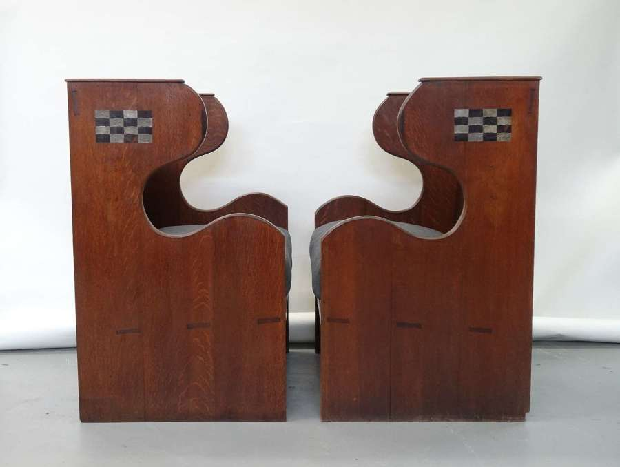 Rare pair of Ambrose Heal Arts & Crafts oak inlaid inglenook settles