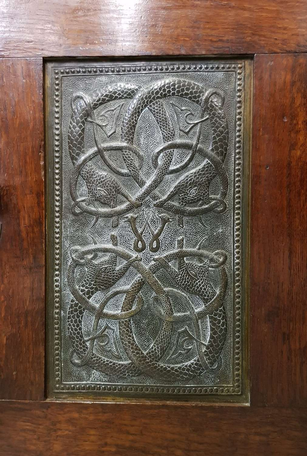 Arts & Crafts Celtic panel small cabinet signed and dated