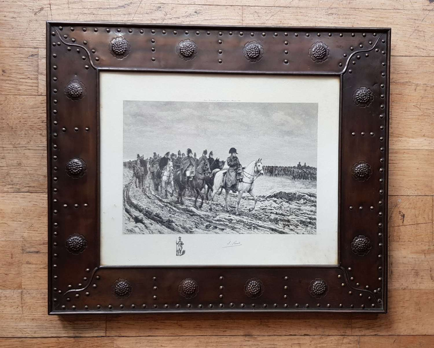 Pair of Arts & Crafts patinated copper frames lithographs Napoleon