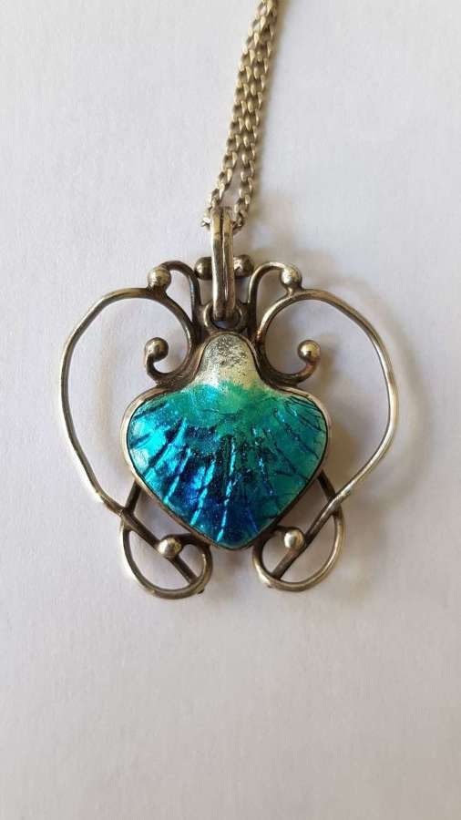 Arts & Crafts Newlyn silver and enamel shell pendant
