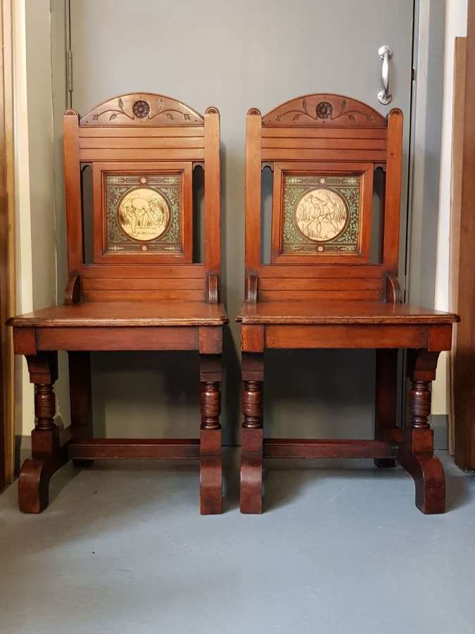 Pair of Aesthetic Movement Gothicky hall chairs John Moyr Smith