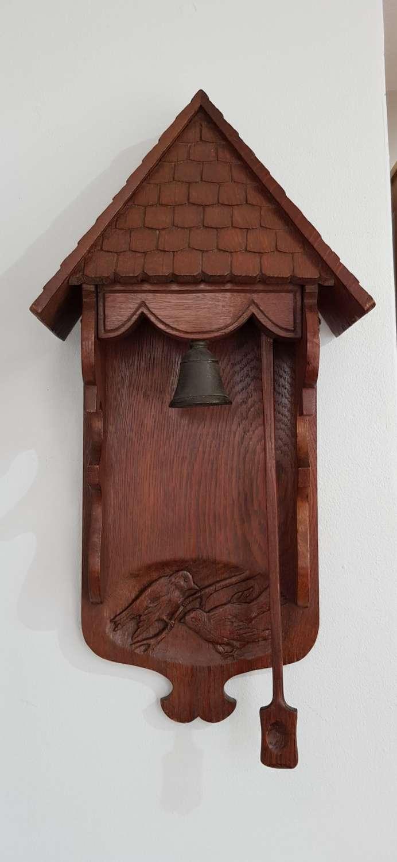 Arts & Crafts carved oak tiled roof door bell